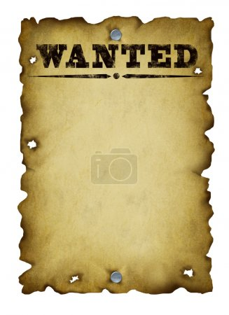 Photo for Old western wanted poster with metal nails and torn burnt antique parchment textured paper isolated on a white background as an icon of old fashioned communication and important announcements. - Royalty Free Image