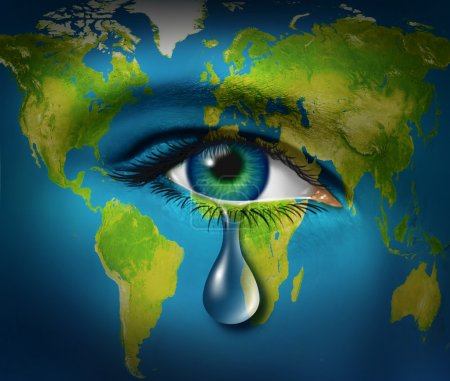 Photo for World poverty and natural disaster relief causing a refugee crisis from poor countries suffering from drought and war or regional conflicts resulting in famine as an earth map with a sad tear crying from an eye of a child, - Royalty Free Image