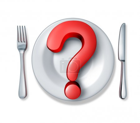 Photo for Food questions and what do you eat at restaurants in relation to diets and nutrition and allergic reactions to ingredients in the meals we consume as a red dimensional question mark with a dinner plate and silverware table setting. - Royalty Free Image