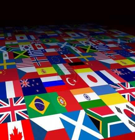 Photo pour Monde drapeaux fond avec les symboles des pays de la planète dans la décoloration de la perspective forcée au noir comme une icône du commerce international ou de la communication. - image libre de droit