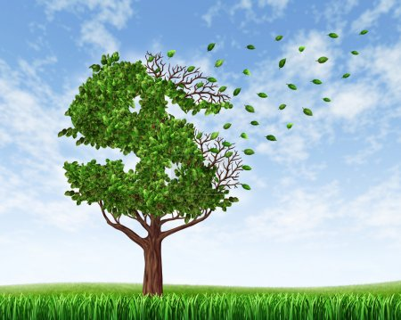 Photo for Losing your savings and managing your debt and financial budget with a green tree in the shape of a dollar sign with leaves falling off and floating away as an icon of wealth loss and downgrade or falling retirement funds due to spending, - Royalty Free Image
