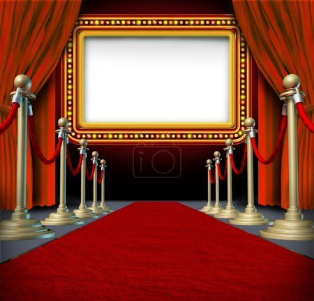 Photo for Movie and theatre marquee blank sign with elegant velvet curtains and a red carpet with gold barriers roped off and a billboard in lights as an icon of entertainment and important show announcement. - Royalty Free Image