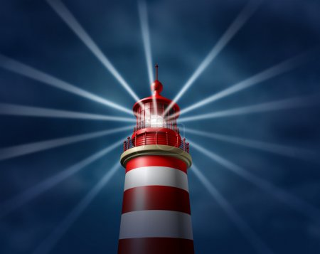Photo for Finding answers and business solutions by searching in all directions putting light on new paths to opportunity and success with a lighthouse searchlight symbol on a illuminating the night sky. - Royalty Free Image