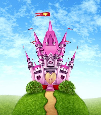 Photo for Magical pink castle as a fantasy princess with a fun royal kingdom on a green grass mountain top with a golden path as a girls toy dream or dreaming of a fairy tale of nobility with heart shapes and magic elegance. - Royalty Free Image