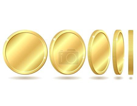Illustration pour Pièce d'or avec des angles différents. Illustration vectorielle isolée sur fond blanc - image libre de droit