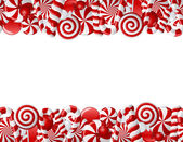 Frame made of red and white candies