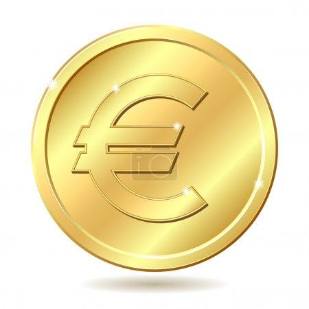 Illustration pour Pièce en or avec signe euro. Illustration vectorielle isolée sur fond blanc - image libre de droit