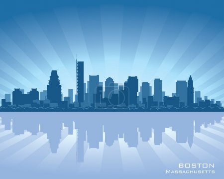 Photo for Boston, Massachusetts skyline illustration with reflection in water - Royalty Free Image