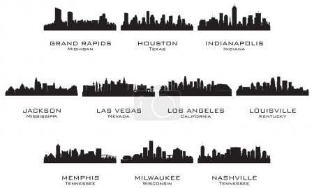Silhouettes of the USA cities_2. Vector illustrati...