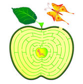 Apple maze caterpillar and butterfly concept