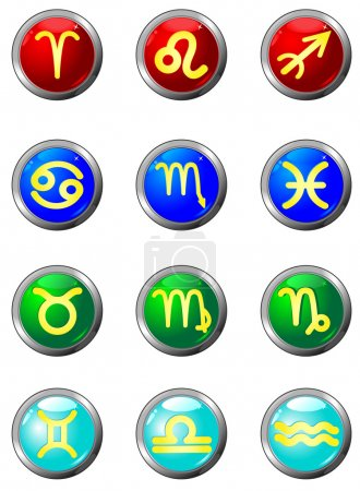Three Dimensional circle button sign. Zodiac.