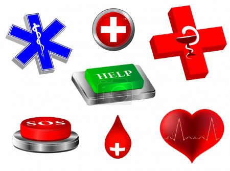 Illustration for Emergency. Vector collection 3d medical icons and warning signs. veterinarian - Royalty Free Image
