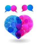 Couple of lovers talk love in heart speech bubbles dialogue