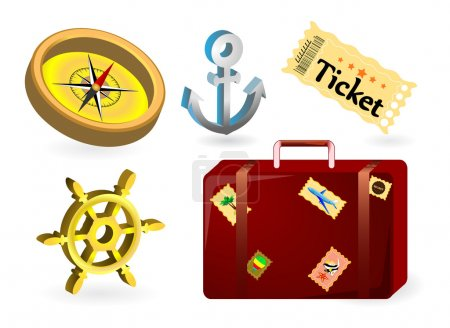 Illustration for Set icons adventure and cruise ship: ticket, compass rose, anchor, suitcase, wheel - Royalty Free Image