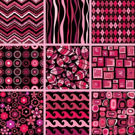 Set of stylish seamless patterns.