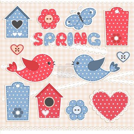 Illustration pour Éléments de scrapbook Spring.Vector - image libre de droit