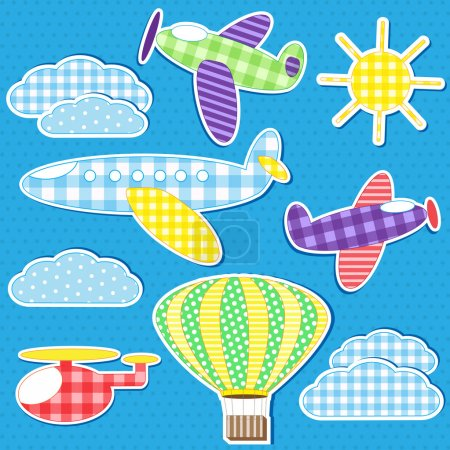 Illustration pour Transport aérien. Jeu vectoriel d'autocollants textiles - image libre de droit
