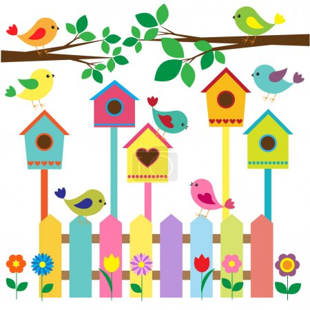 Illustration for Collection of colorful birds and birdhouses - Royalty Free Image