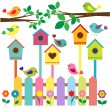 Collection of colorful birds and birdhouses...