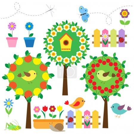 Illustration pour Mignon ensemble de jardin avec oiseaux, fleurs et insectes - image libre de droit