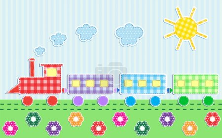 Illustration for Cute cartoon train. Vector textile stickers - Royalty Free Image