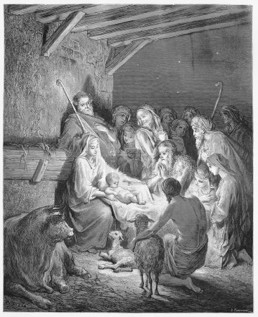 Photo pour La Nativité - photo de l'Ecriture Sainte, collection de livres anciens et nouveaux testaments, publié en 1885, stuttgart-Allemagne. dessins de gustave dore. - image libre de droit