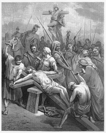 Photo for Jesus Is Nailed to the Cross - Picture from The Holy Scriptures, Old and New Testaments books collection published in 1885, Stuttgart-Germany. Drawings by Gustave Dore. - Royalty Free Image