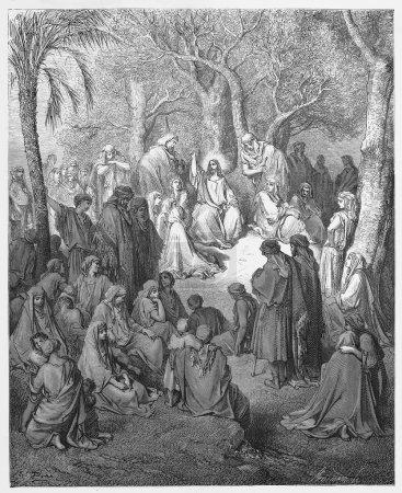 Jesus preaches the Sermon on the Mount