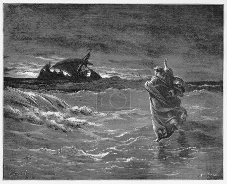 Photo pour Jésus marche sur la mer - Image tirée de la collection de livres des Saintes Écritures, de l'Ancien et du Nouveau Testament publiée en 1885, Stuttgart-Allemagne. Dessins de Gustave Dore . - image libre de droit