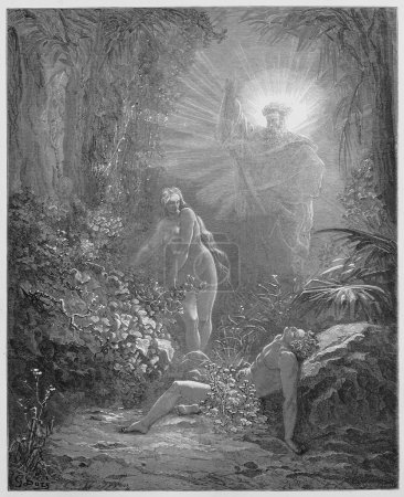 Photo for The formation of Eve - Picture from The Holy Scriptures, Old and New Testaments books collection published in 1885, Stuttgart-Germany. Drawings by Gustave Dore. - Royalty Free Image