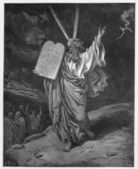Moses comes down from the mountain with the tablets of Law