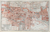 Vintage map of Karlsruhe at the end of 19th century