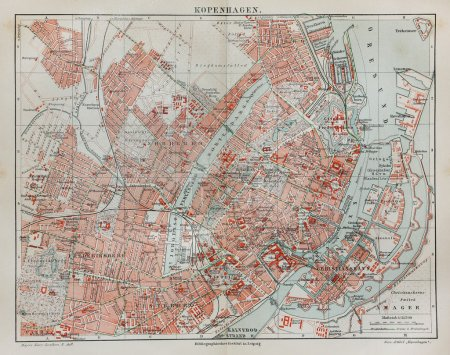 Vintage map of Copenhagen at the end of 19th century