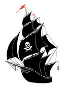 A silhouette of a old sail pirate ship - vector illustration