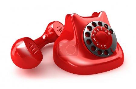 Téléphone rétro rouge, vue de face