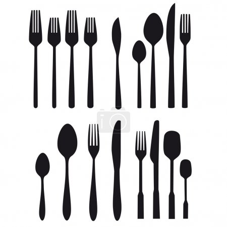 cutlery food table silverware vector kitchen fork spoon cutlery set silhouette symbol