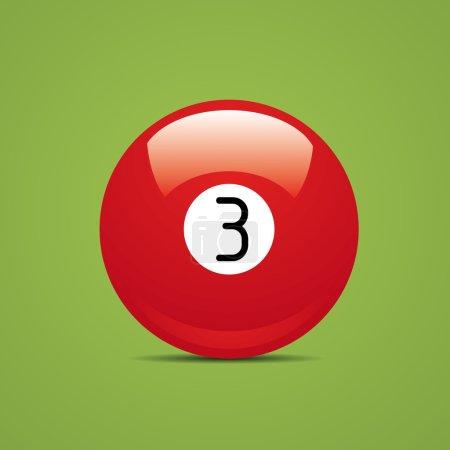 Full Billiard ball number three 3 Sport pool Game hobby cue restaurant table green