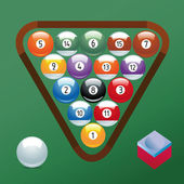 Billiard set collection on green Background in Adobe Illustrator