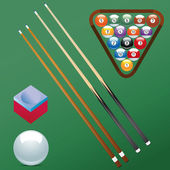 Billiard ball set collection chalk Sport pool Game hobby cue restaurant table green triangular
