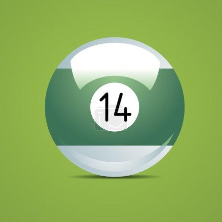 Half Billiard ball number fourteen 14 Sport pool Game hobby cue restaurant table green
