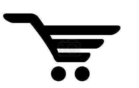 Vector black icon of shopping cart