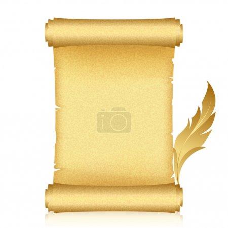 Illustration pour Illustration vectorielle du rouleau et de la plume d'or - image libre de droit