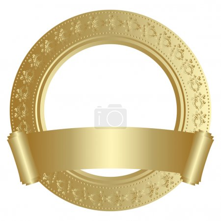 Illustration for Golden circular frame with scroll - Royalty Free Image