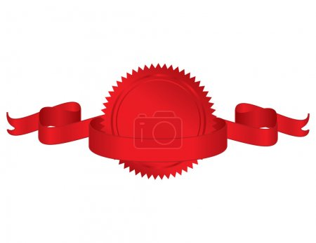 Illustration for Vector illustration of red seal with ribbon - Royalty Free Image