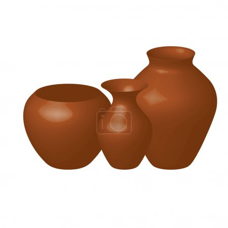 Illustration for Vector illustration of three brown vases - Royalty Free Image