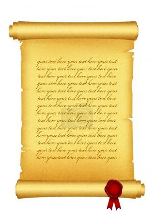 Illustration pour Illustration vectorielle du rouleau avec sceau en cire rouge - image libre de droit