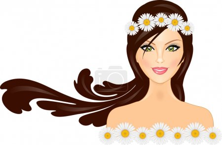 Vector illustration of woman with daisy crown on head