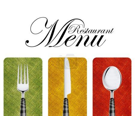 Photo pour Couverture de menu restaurant design avec couteau, cuillère et fourchette . - image libre de droit