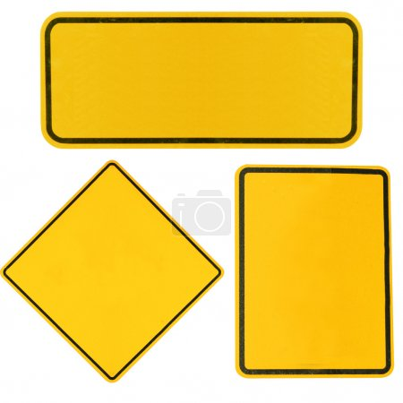 Photo for Blank Yellow highway road signs isolated on white. - Royalty Free Image