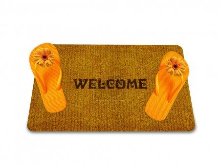 Brown welcome carpet, welcome doormat carpet isola...